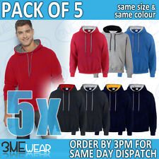5x GILDAN CONTRAST HOODIE SWEATSHIRT HEAVY BLEND PLAIN ADULT MEN WOMEN 185C00