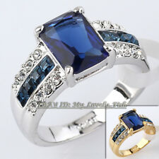 Fashion Simulated Sapphire Band Ring 18KGP Crystal Size 5.5-10
