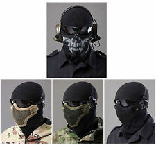 Tactical Paintball Airsoft WARGAME COSPLAY Mesh Face Mask Breathable Adjustable