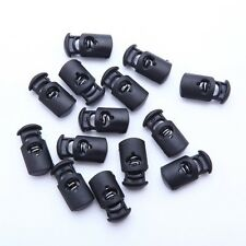 Lot of 5 10 20 50 & 100 Plastic Black Cord Locks Stoppers Toggles End