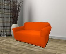 ORANGE JERSEY LOVESEAT STRETCH SLIPCOVER COUCH COVER LOVE SEAT COVER, KASHI HOME