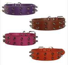 2 Row Spiked Studded PU Leather Dog Collar Medium Large Pitbull Terrier Size S M