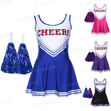 Adult High School Cheerleader Outfit Fancy Dress Costume Lady Uniform Cheer Girl