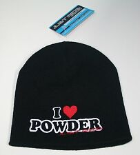 I LOVE POWDER JUST RIDE SLOUCH BEANIE HAT SNOW BOARD MOBILE SLED SKI DOO SKIING