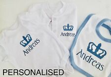 Baby boys clothing PERSONALISED royal crown babygrow or vest or bib **ANY NAME
