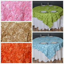 """72x72"""" SATIN Raised Roses TABLE OVERLAYS Unique Wedding Party Toppers Linens"""