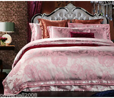 European Soft Silver Pink Jacquard Satin Drill Quilt Cover Set Home Bedding &$