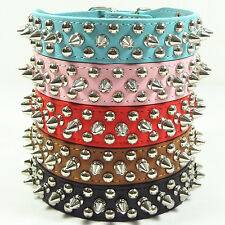Pet Dog PU Leather Rivet Spiked Studded Collar Buckle Neck Strap Adjustable