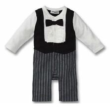 Baby Boy Formal Tuxedo Real Bow & Ruffles Romper Outfit LONG SLEEVE size 00/0/1