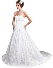 Faironly Satin Sweetheart Wedding Dress Bridal Gown Stock Size 6 8 10 12 14 16