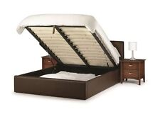Happy Beds Vienna Storage Brown Bed Faux Leather Gas Lift Bedroom Furniture New