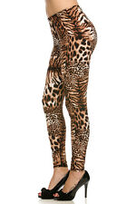Cali Chic Junior's Leggings Animal Print Leopard Super Soft Sexy Stretchy NEW!