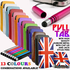 PULL TAB SLIDE IN POUCH CASE+SLIMLINE METAL STYLUS PEN FOR Nokia Lumia 929