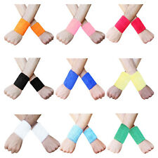 "Pair Sweat Wrist Band Sport Aerobics Wristbands 3.5"" inch Multi Colors"