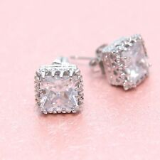 Wedding Groom Square Cubic Zirconia Zircon Crystal Silver Tone Stud Earrings
