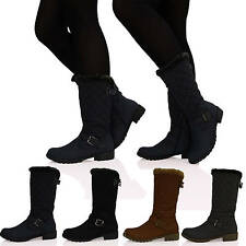 R9M WOMENS LADIES UNDER THE KNEE QUILTED PULL ON FLAT LOW HEEL BOOTS SHOES SIZE