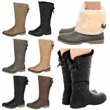 R9I NEW WOMENS LADIED FUR LINED QUILTED RAIN MOON SKI WINTER BOOTS SHOES SIZE