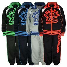 KIDS TRACKSUIT 2 PIECE SET JOGGING BOTTOMS & ZIPPED TOP COLLEGE PRINT 3-14 YEARS