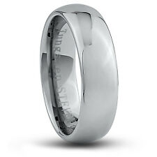Men's 7mm Wide Tungsten Carbide Band Comfort Fit Ring Round High Polish - TCR042