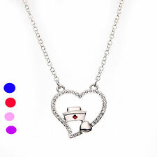 LPN RN Registered Nurse Necklace Pendant With Shining Small Heart And Nurse Hat