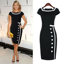 New Womens Celebrity Style Vintage Nautical Bodycon Pencil Party Dress-A06
