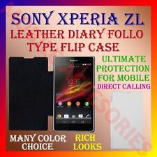 LEATHER DIARY FOLIO FLIP FLAP CASE for SONY XPERIA ZL MOBILE FRONT & BACK COVER