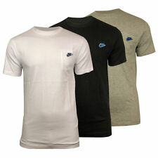Nike Casual Fashion T Shirt 3D Swoosh - Front Pocket Tee White Grey Black