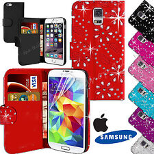 Bling Diamonte Studs Leather Wallet Jewelled Flip Case Cover For Various Phones