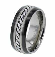 8mm Shiny Top Two Tones Titanium Cable Inlay Men's Wedding Band Ring