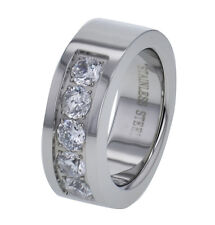 8mm Shiny Top Stainless Steel Cubic Zirconia Men's Comfort Fit Wedding Ring