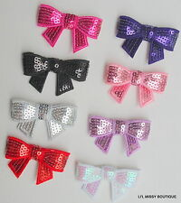 8x BULK WHOLESALE SEQUIN BOW EMBELLISHMENTS APPLIQUES 5cm DIY HEADBANDS HAIRCLIP