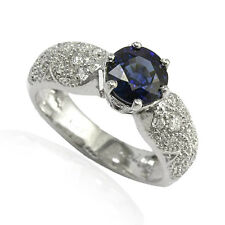 14k Solid White Gold H-VS2 .60 ct.t.w Diamond & Sapphire Engagement Ring #1622