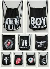 Black&White Punk Canvas Drawstring Backpack Cool Boy Girl Unisex Bag With Badge
