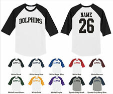 Dolphins Custom Personalized Name & Number Raglan Baseball Jersey T-shirt