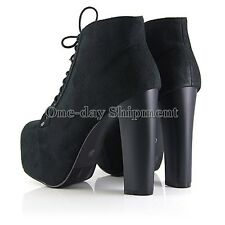 Black Retro Lita Flat Platforms High Heels Lace Up Ankle Boots Square toed Shoes