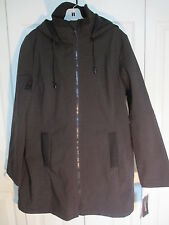 London Fog  Zip Front Jacket with Removable Hood Black NWT