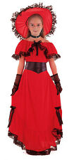 GIRLS LONG RED VICTORIAN SUMMER FANCY DRESS COSTUME OUTFIT & HAT 4-6-9-11-12 NEW