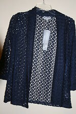 JM Collection Intrepid Blue Long Sleeve Crochet Lace Cardigan PP, PS, PM, PL