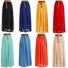 Woman Chiffon Elastic Waist Pleated Double Layer Long Maxi Skirt Vintage Dress