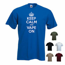 'Keep Calm and Vape On' E cig cigarette Electronic Shisha Funny T-shirt Tee