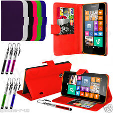 Flip Leather Wallet Case Cover For Nokia Lumia 520 Free Stylus Pen