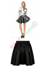 NEW WOMENS LADIES SEXY HIGH WAIST FAUX LEATHER WET LOOK SKATER MINI FLARED SKIRT