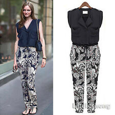 Vintage Women Roll-Up Sleeve Pocket Floral Print Elastic Casual Jumpsuit Rompers