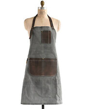 Birdkage: Peyton Utility Long Bib Apron in Wax Canvas & Leather, 4 Colors