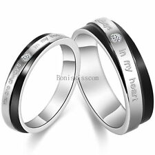 """Stainless Steel """" You Are Always In My Heart """"  Couples Promise Engagement  Ring"""