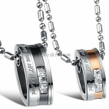 "His Hers Stainless Steel "" Love You Till the End "" Couple Rings Pendant Necklace"