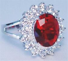 Ruby Red Cubic Zirconia Crystal Engagement Ring Replica