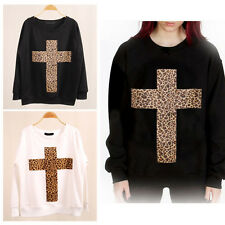 Leopard Cross Trendy Women Sweatshirt Jumper Pullover Long Sleeve T-Shirt Tops