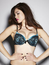 Ann Summers Womens Extreme Boost Lace Bra Teal/Black Push Up Sexy Underwear