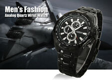 Curren Black Stainless Steel Luxury Sport Analog Quartz Clock Mens Wrist Watch